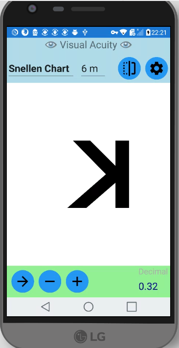 Snellen Eye Chart on LG G5 with mirror mode