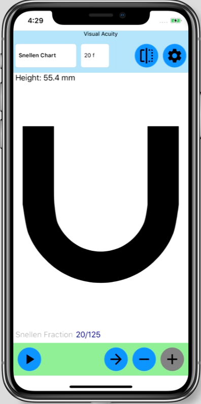 eye chart on iPhone X